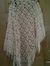 """women's hand knitted shawl wrap cover-up triangle 100% wool 75"""" wings/36"""" Ivory"""