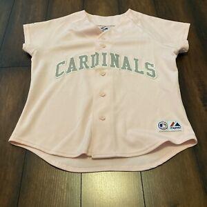 Majestic L Large Pink Women's St. Louis Cardinals MLB Baseball Stitched Jersey