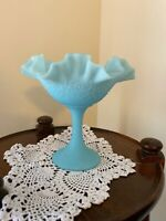 """Fenton Blue Ruffled Satin Glass Footed Compote - Persian Medallion Pattern 6.5"""""""