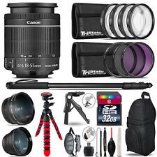 Canon 18-55mm IS STM - 3 Lens Kit + Tripod + Backpack - 32GB Accessory Bundle