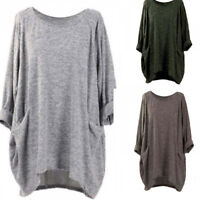 Asymmetrical Casual Sleeve Batwing Tops Shirt Jumper Solid Jumper Loose Women's