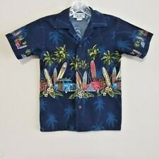 Pacific Legends Appareal Boy's Hawaiian Tropical Button Front Shirt Euc - Small