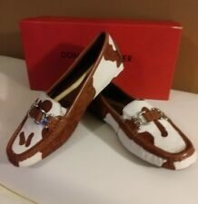 SZ.6 NWB DONALD PLINAR Women's VIKSYP MOC W/ BUCKLE . SADDLE COW PRINT HAIRCALF.