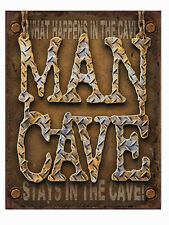 A3 WARNING Tin Metal Sign 'MAN CAVE' 41x32cm Rustic 'What happens in the Cave'