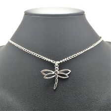 Dragonfly Summer Necklace Sterling Silver Plated Chain Link Women's Jewelry