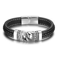 Leder Edelstahl Magnet Armband Damen Herren Lederarmband Armschmuck schwarz 331