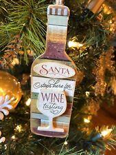 """Festive New Kurt Adler 6"""" Vineyard Wooden Wine Bottle Christmas Ornament-Santa!"""