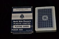 UNUSED Vintage Playing Cards World Wide Pleasure Plastic Coated Poker Size w/Box