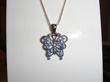 """Blue Crystal Silver Butterfly Necklace with 925 sterling silver chain 16-18"""""""