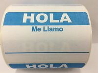 50 Labels 3.5x2.375 LIGHT BLUE Spanish Hola Me Llamo Name Tag Stickers