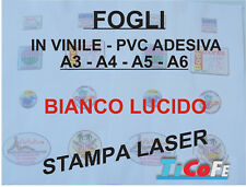 Carta ADESIVA A4 BIANCA LUCIDO * stampa laser * 100 fogli * PVC VINILE