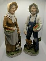 Vintage Homco Farmhouse Farmer & Wife Apple Harvest Porcelain Figures 1409