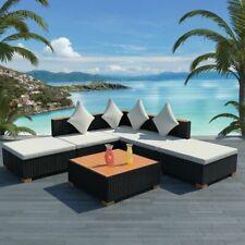 vidaXL Gartenmöbel 6-tlg. Poly Rattan Schwarz Sitzgruppe Lounge Gartenset Sofa