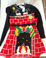Ugly Christmas Sweater Dress Women's LIGHT UP Santa Chimney NWT size Small