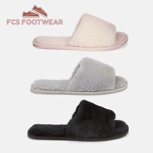 Ladies Women's Indoor Faux Fur Open Toe Mule Slipper Sliders Size 3-8