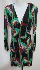 T-Bags Los Angeles Multi-Colored Print Rayon Jersey V-Neck Ruched Dress S