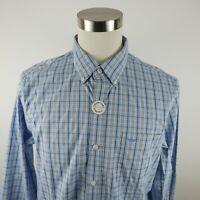 NEW Dockers Mens Stretch Cotton LS Button Down Light Blue Plaid Dress Shirt L