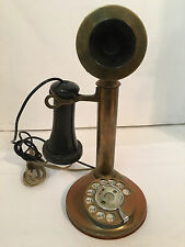 Antique American Bell Brass Candle Stick Telephone