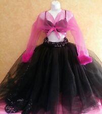 Fuchsia Black Sex & The City Tulle Tea Length Tutu Ballgown Skirt Top Set Bridal