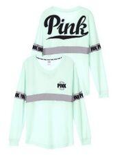 Victoria's Secret PINK Varsity Crew V-Neck Pullover Sweatshirt Mint Green Small