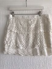 WHITE CROCHET SKIRT L PRETTY TOWIE CELEB GLAM SUMMER HOLIDAY PARTY BOHO CUTE SUN