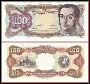 1990 Venezuela 100 Bolivares Choice Uncirculated CU Currency