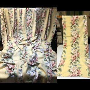 VTG 1940' Barkcloth Drapes. Set of 12 Panels . Floral Print Barkcloth. Set Of 12