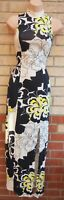 RIVER ISLAND CREAM YELLOW BLACK FLORAL SPLIT SIDE SLEEVELESS FIT MAXI DRESS 6 XS