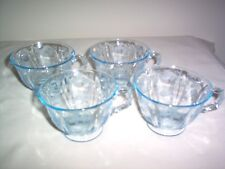 Fostoria Meadow Rose etch Baroque blank Azure Blue Footed Cups - SET 4- MINT HTF