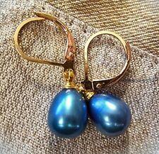 anmutige ohrhänger blaue zuchtperle vergoldete brisur- zauberhaft neu