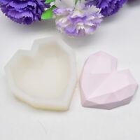 Silicone Mold 3D Geometric Diamond Heart Chocolate Soap Cake DIY Baking Mould