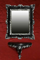 SET Wandspiegel + Konsole Spiegelkonsole Schwarz Silber BAROCK Antik  44x38  1*