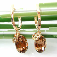 Navachi 18K GP Crystal Oval Brown Zircon Emerald Leverback Earrings 2628
