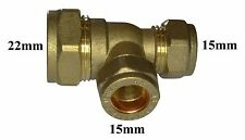22mm Compression Reducing Tee 22mm x 15mm x 15mm   Brass Fitting