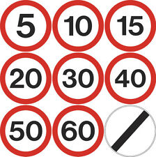 Road sign speed limit 5 10 15 20 30 40 50 60mph 300mm circle dibond reflective