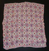 Vintage Carolyn Schnurer Designer Hankie Handkerchief Pink Dove Lovebirds Hearts