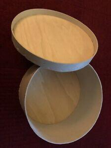 Antique Vintage Wooden / cardboard Round Hat box 30cm diameter