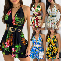 Women Floral Boho Mini Jumpsuit Shorts Sleeveless Summer Holiday Beach Romper