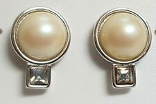 Earrings Vintage Signed Monet Pearl Glass Crystal / Color Silver/F8