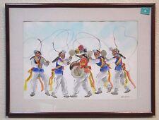 Hoe Won Korean Folk Dancers Watercolor Painting Signed