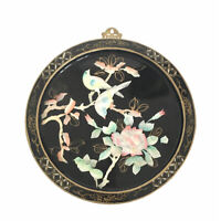 Vintage Round Oriental Mother of Pearl Black Lacquer Wall Panel Bird Flower
