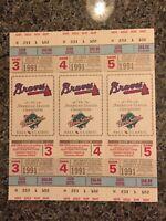 1991 World Series Twins Championship Game 3, 4 &  5 Ticket, Kirby Puckett,Braves