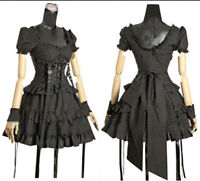 Black Gothic Princess Layered Ruffles Short Sleeve Lolita Cosplay Costume Dress
