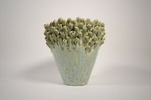 Green Glaze Vase with Seaweed or Barnacle Sculptured Rim - 8in x 8in