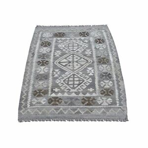 """2'9""""x4'1"""" Afghan Kilim Reversible Undyed Natural Wool Hand Woven Rug R66303"""