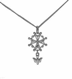 Pendentif croix huguenote protestante chaine 50cm 45 en argent massif 925 rhodié