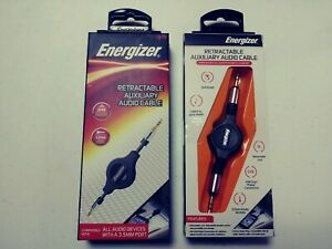 (lot of 2) Energizer Retractable Auxiliary Audio Cable for 3.5mm Devices,
