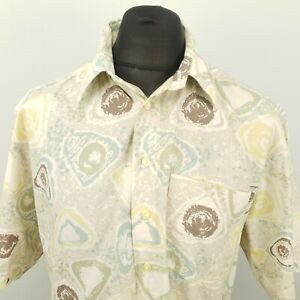 C&A Mens Vintage Shirt Crazy 80s 90s 43/44 XL Short Sleeve Grey RELAXED Abstract
