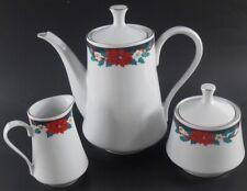 Tienshan Deck The Halls Tea Coffee Pot, Sugar Creamer Set Christmas Poinsettia