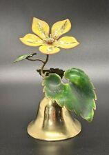 """Petite Ornate Brass Bell w/ Enamel Painted Flower & Leaf Handle 4.75"""" Vintage"""